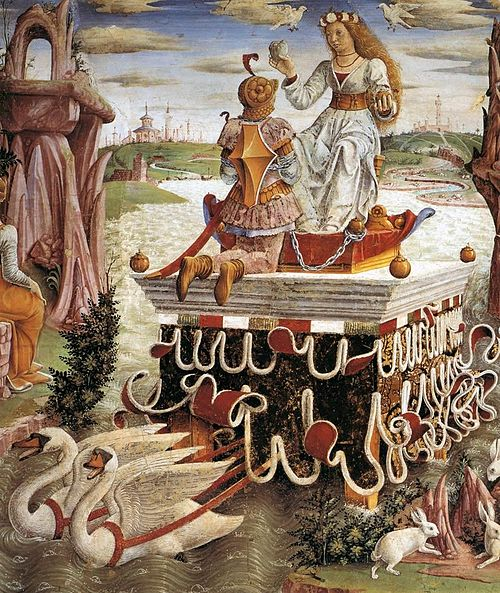 Francesco del Cossa - Allegory of April - Triumph of Venus (detail) - WGA05405