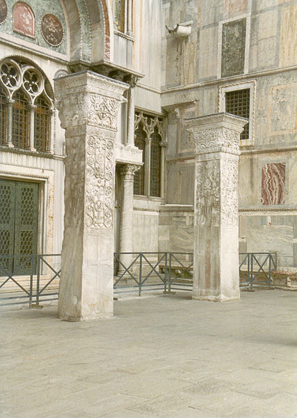Pillars from St Polyeuktos Constantinople outside south wall of San Marco in Piazzetta Venice known as Pillars of Acre
