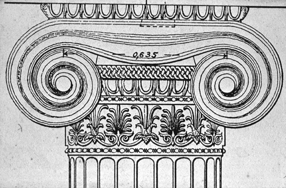 east porch, drawing of capital